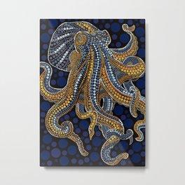 octopus dot art mandala drawing Metal Print