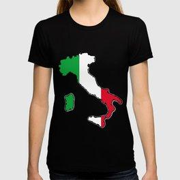 Italy Map with Italian Flag T-shirt