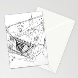 Mountain Vertices, Mt. Rainier, Black Geometric Stationery Cards