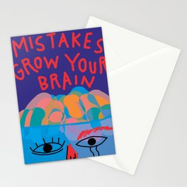 Mistakes grow your brain - Minimal Abstract Shapes Lettering Stationery Cards