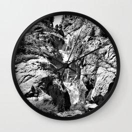 waterfall rope bridge kaunertal alps tyrol austria europe black white 1 Wall Clock