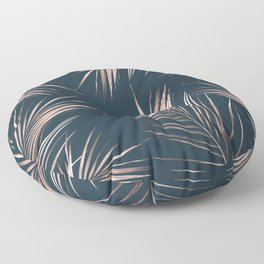 Rose Gold Pink Palm Leaves Floor Pillow