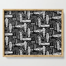 Gamer Lingo-Black and White Serving Tray