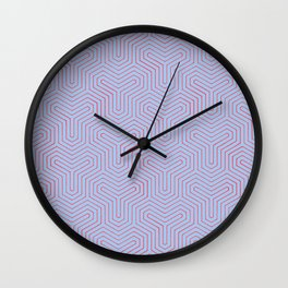 Geometric Y Shaped Pattern-Red on Periwinkle Wall Clock