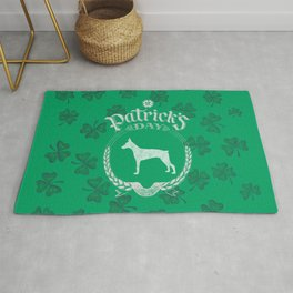 St. Patrick's Day Doberman Funny Gifts for Dog Lovers Rug