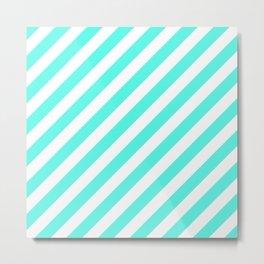 Diagonal Stripes (Turquoise & White Pattern) Metal Print