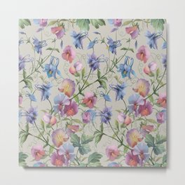 Flowers and insects. Aquilegia and sweet peas  pattern #2 Metal Print