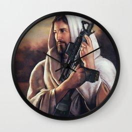 Assault Rifle Jesus Christ Messiah - Who WOuld Jesus Shoot Wall Clock