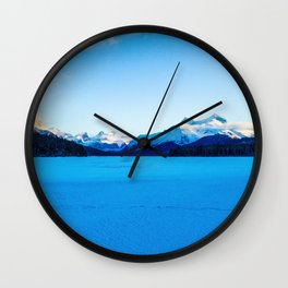 Frozen Maligne Lake in Jasper National Park, Canada Wall Clock