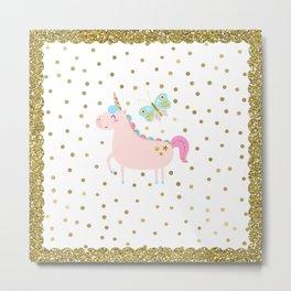 Pink & Gold Glitter Unicorn Metal Print