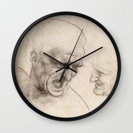 Leonardo da Vinci - Study of Two Warriors' Heads for the Battle of Anghiari (1505) Wall Clock