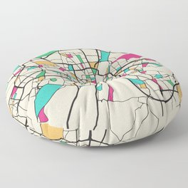 Colorful City Maps: Munich, Germany Floor Pillow