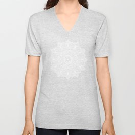 Beautiful soft white mandala on neutral Unisex V-Neck