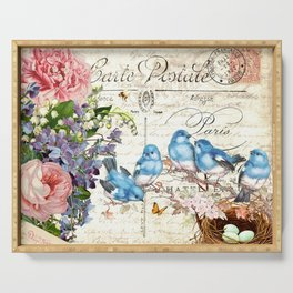 Vintage Postcard with Bluebirds Serving Tray