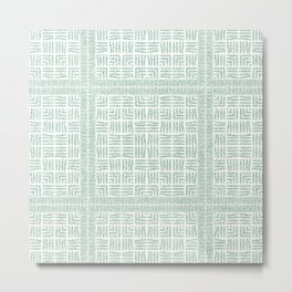 Nappy Faux Velvet Framed Weave in Pastel Green Metal Print