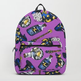 Midnight Witchcraft - Magical Pattern on Purple Backpack
