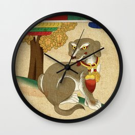 Minhwa: Dog C Type Wall Clock