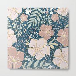 Big Flower Print in Muted Jewel Tones Green Pink Blue Yellow Metal Print