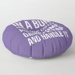 Toss Your Hair in a Bun, Coffee, Gangsta Rap & Handle It (Ultra Violet) Floor Pillow