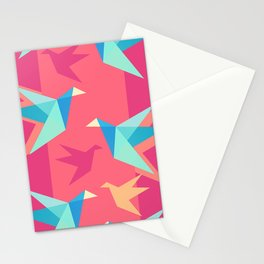 Vivid Pink Paper Cranes Stationery Cards