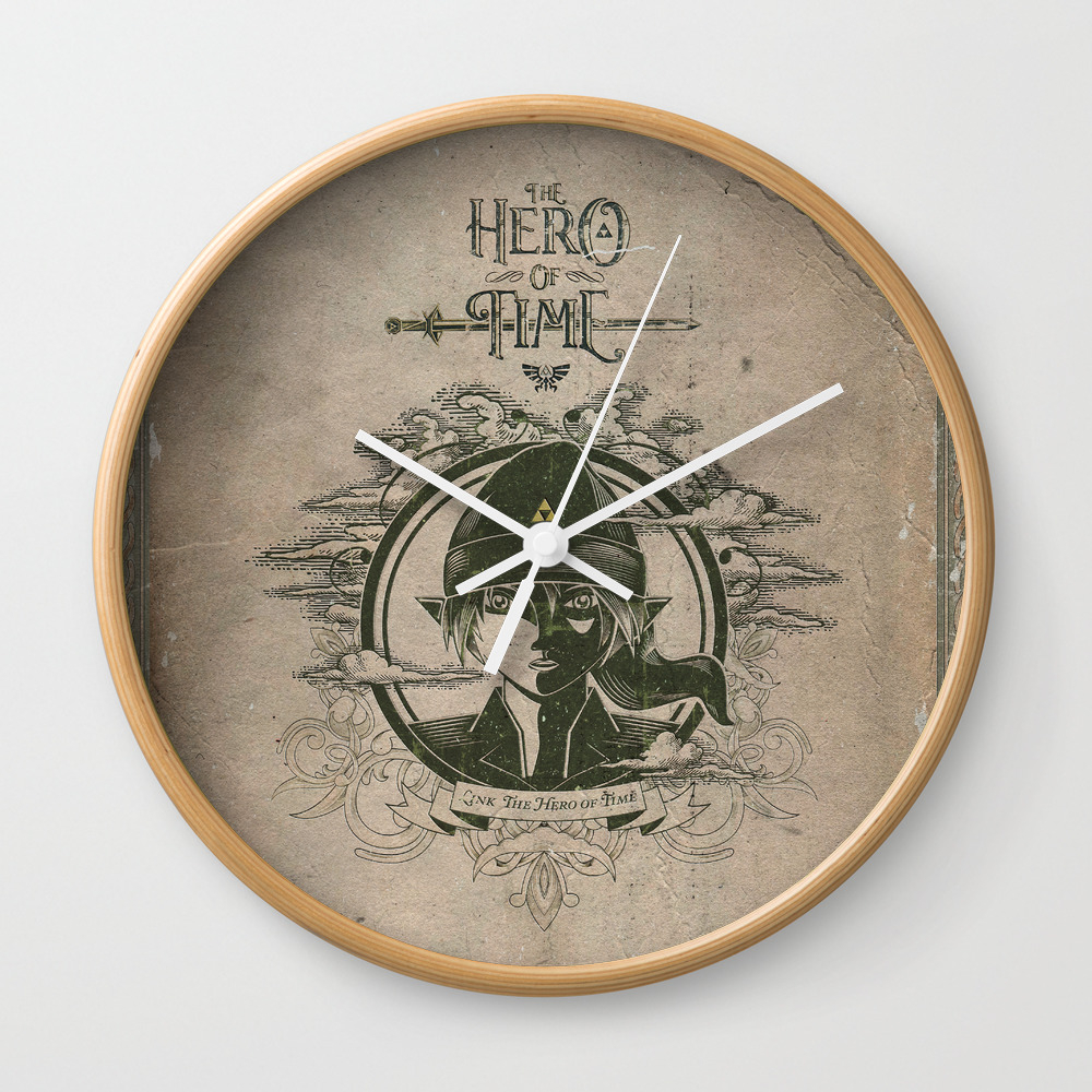 Legend Of Zelda Link The Hero Of Time Vintage Book… Wall Clock by Jollyappleskull CLK822124