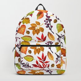 Vibrant Watercolor Fall | Autumn Leaves Pattern - Multi-Color on White Backpack