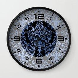Classic Blue Swirls Damask 9 Wall Clock