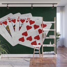Poker Royal Flush Hearts Wall Mural