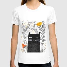 black cat with botanical illustration T-shirt