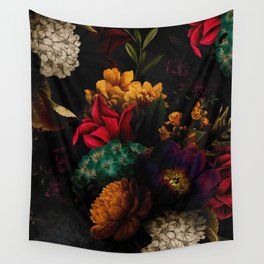 Midnight Hours Dark Vintage Flowers Garden Wall Tapestry