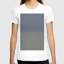 Blue Gray & Dark Pewter Gray Solid Color Horizontal Stripe Minimal Graphic Design Jolie Legacy & Slate T-shirt