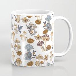 Mushroom Medley in Blue and Rust Coffee Mug