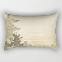 Japanese Pagoda and Rainbow - Vintage Japanese Woodblock Print Rectangular Pillow