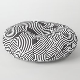 Modern Scandinavian B&W Black and White Curve Graphic Memphis Milan Inspired Floor Pillow