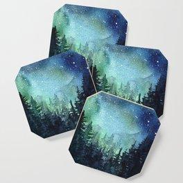 Galaxy Watercolor Aurora Borealis Painting Coaster