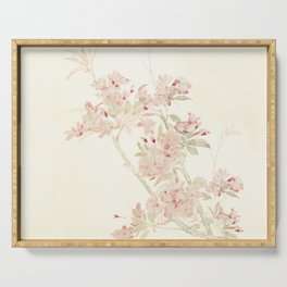 Watercolour of pink blossom Serving Tray