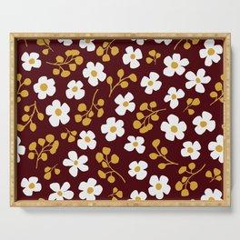 dorothea daisies on darkest burgundy Serving Tray