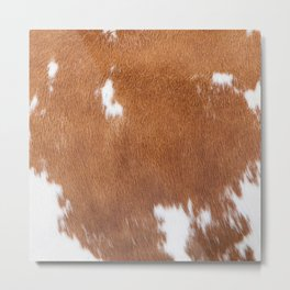 Light Brown and White Cowhide, Cow Skin Pattern, Farmhouse Decor Metal Print