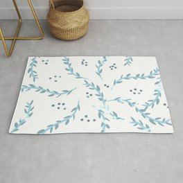 Blue leaves pattern  Rug