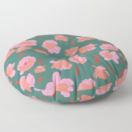 English Roses in Pink and Green Floor Pillow