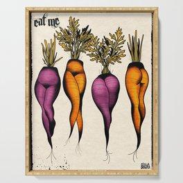 Sexy carrots botanical chart tattoo flash Serving Tray