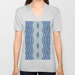 Blue Purple Grey Waves Pattern Unisex V-Neck