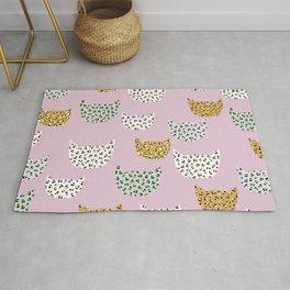 Leopard Kitty Cat pink patern Design print Rug