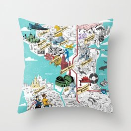 Illustrated Seattle City Map Throw Pillow