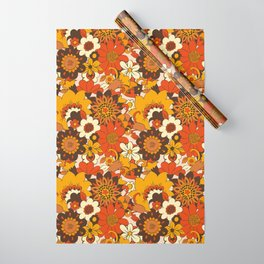 Retro 70s Flower Power, Floral, Orange Brown Yellow Psychedelic Pattern Wrapping Paper