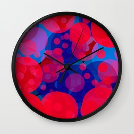 bubbles in red and blue Wall Clock