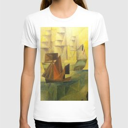 Tall Ships in the Harbor by Lyonel Feininger T-shirt