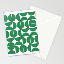 Mid Century Modern Geometric 04 Green Stationery Cards