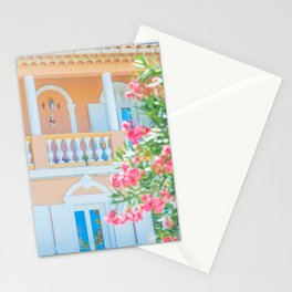 Fresh colored balcony | Fine Art Travel Photography | Oleander Flowers  Stationery Cards