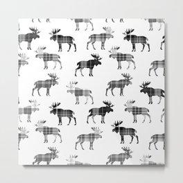 Moose Trot // Black & White Plaid Metal Print